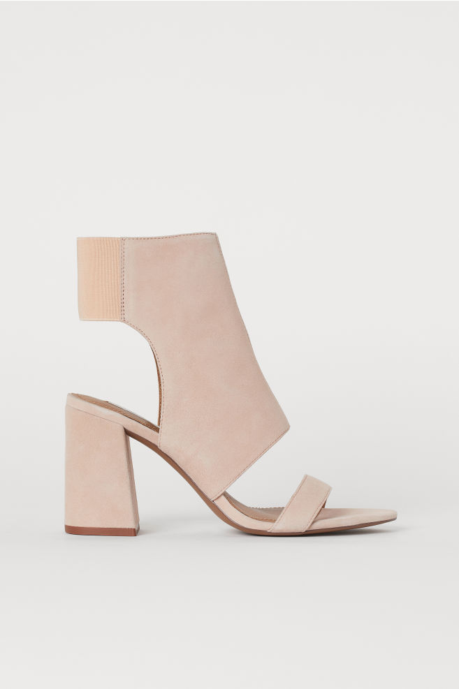 443f37a975da0 Open suede ankle boots - Powder pink - Ladies | H&M ...