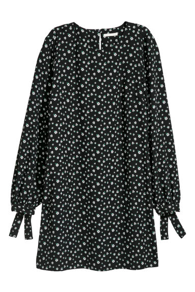 Short dress - Black/Small floral - Ladies | H&M CN
