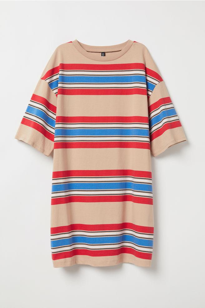 8c4dc5df3b T-shirt dress - Beige/Striped - | H&M ...