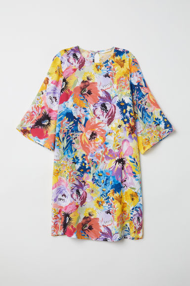 Trumpet-sleeved dress - White/Multicoloured - Ladies | H&M CN