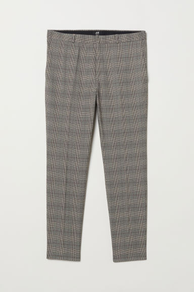 Skinny Fit Suit Pants - Beige/houndstooth-patterned - Men | H&M US