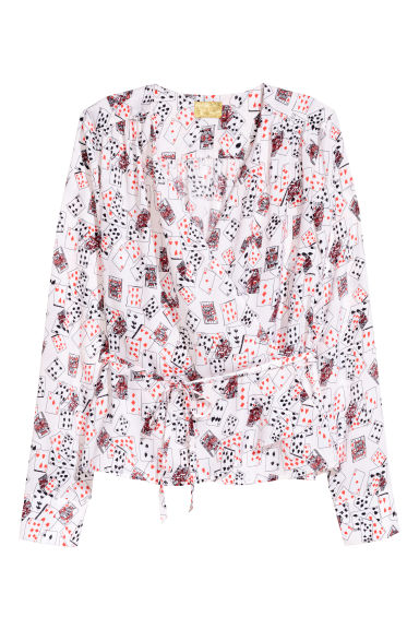 Wrapover blouse - Light pink/Patterned -  | H&M