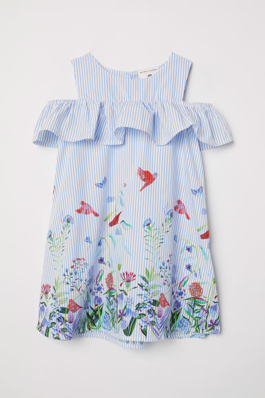 Printed cotton dress - White/Blue striped - Kids | H&M