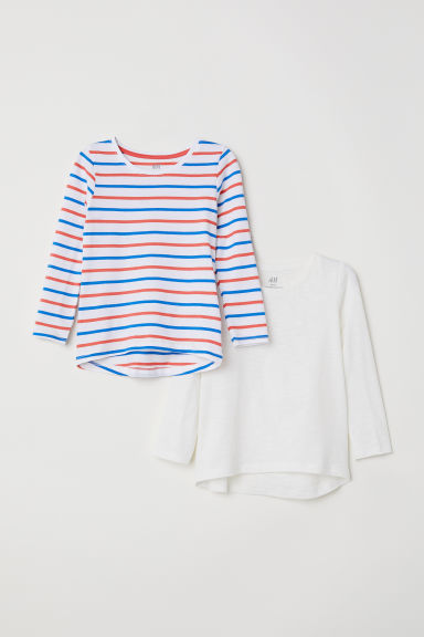 2-pack jersey tops - Natural white/Striped - Kids | H&M