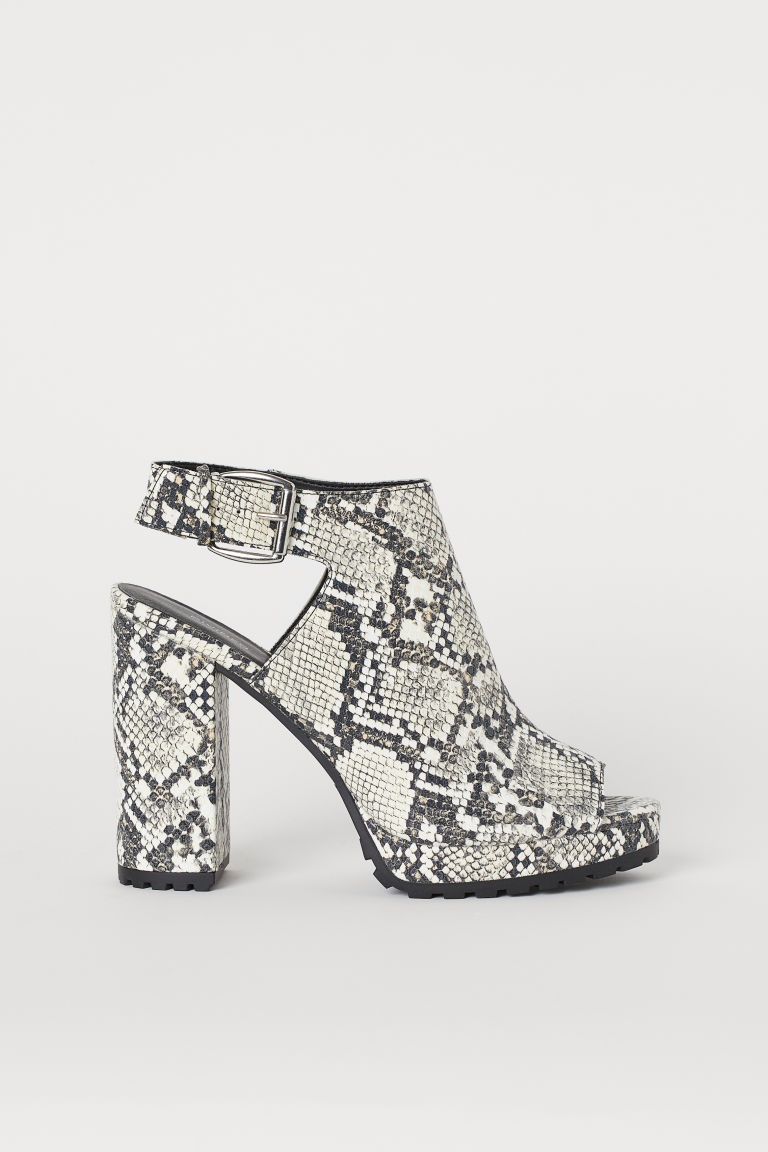 Chunky-soled sandals - White/Snakeskin-patterned -  | H&M