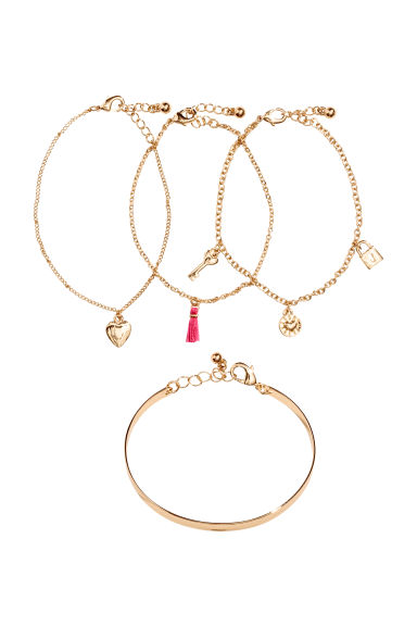4-pack bracelets - Gold-coloured - Ladies | H&M