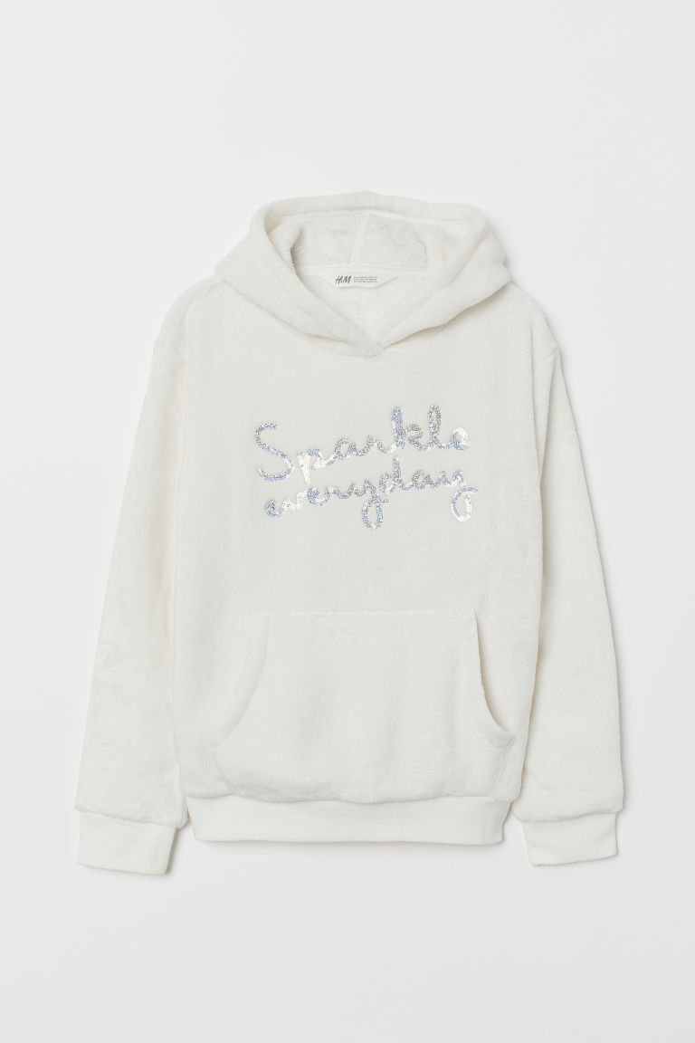 Faux Shearling Hoodie - Natural white/unicorn - Kids | H&M CA