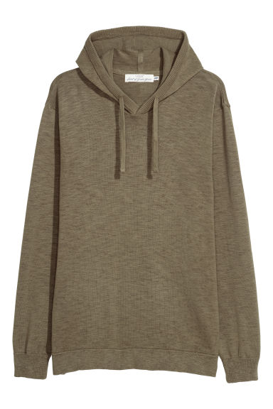Fine-knit hooded jumper - Khaki green -  | H&M