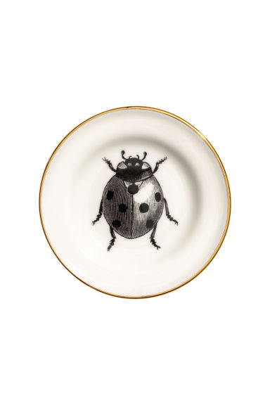 Small printed porcelain plate - White/Ladybird - Home All | H&M IE