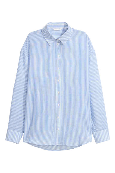 Cotton shirt - Light blue/White striped -  | H&M CN