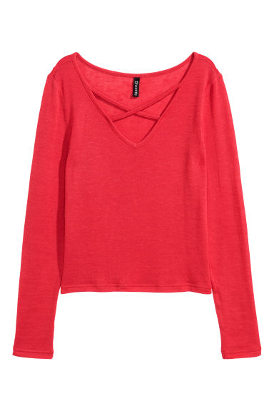 V-neck jumper - Red - Ladies | H&M