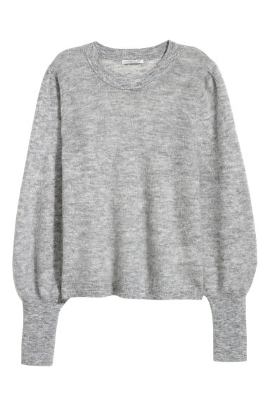Knitted mohair-blend jumper - Light grey -  | H&M