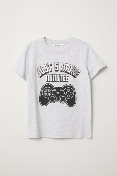 Printed T-shirt - Light grey marl - Kids | H&M CN