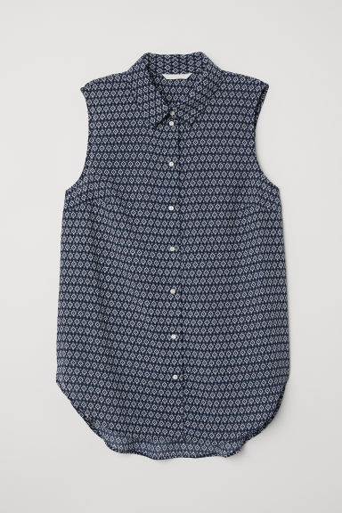 Sleeveless blouse - Blue/Patterned - Ladies | H&M