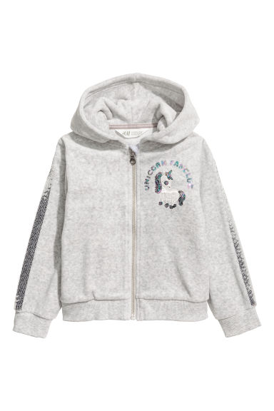 Velour hooded jacket - Light grey -  | H&M CN