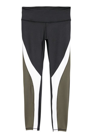 H&M+ Sports tights - Black/Khaki green - Ladies | H&M