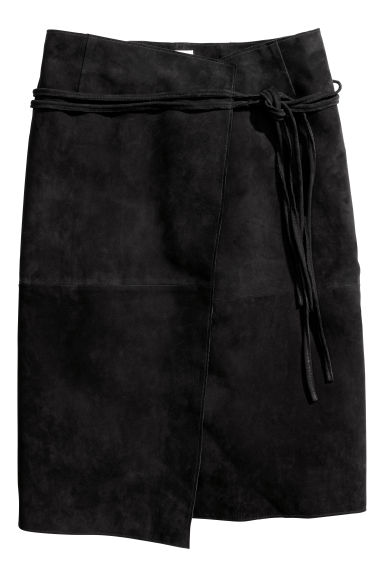 Suede skirt - Black -  | H&M