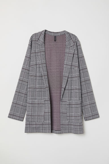 Long jacket - Black/Checked -  | H&M