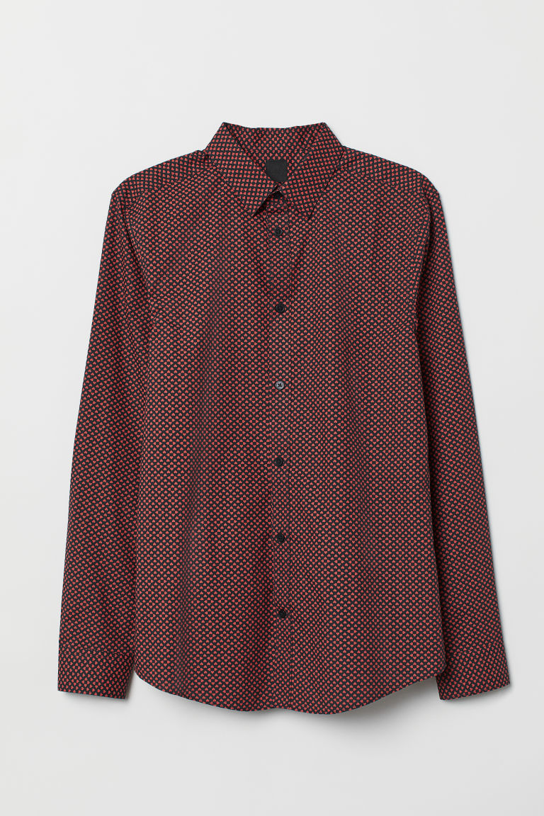 Easy-iron shirt Slim fit - Dark blue/Hearts - Men | H&M