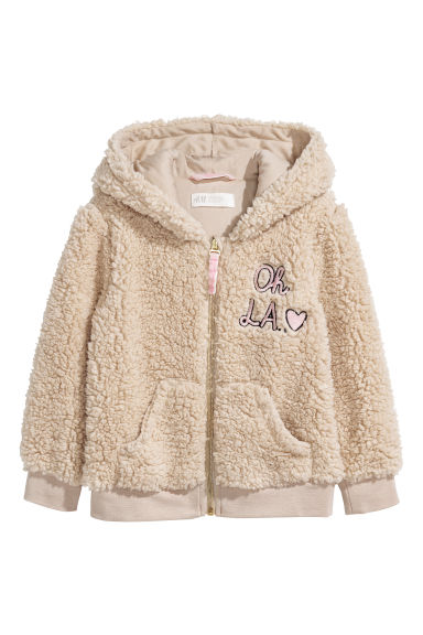 Pile hooded jacket - Beige -  | H&M