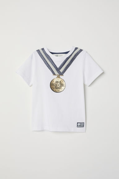 Printed T-shirt - White/Medal - Kids | H&M