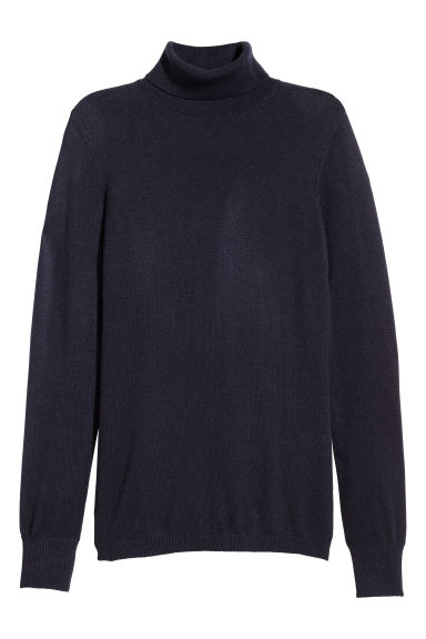 Fine-knit polo-neck jumper - Dark blue -  | H&M GB
