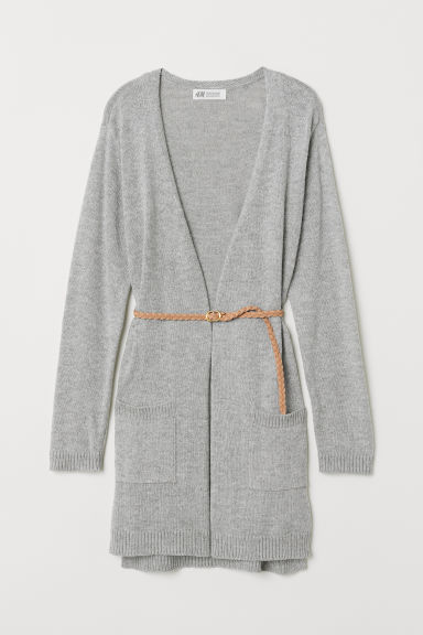 Knit Cardigan with Belt - Light gray - Kids | H&M US
