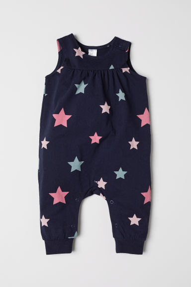Sleeveless jersey romper - Dark blue/Stars - Kids | H&M CN