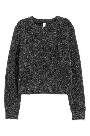 Chenille jumper - Dark grey/Glittery - Ladies | H&M CN