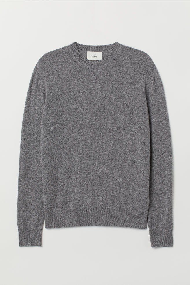 efc6fffb31f835 Cashmere Sweater - Gray melange - Men | H&M ...