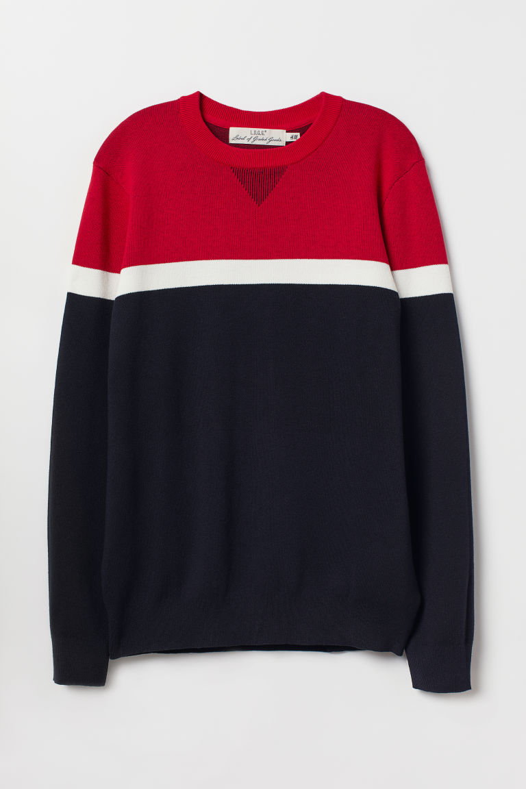 Fine-knit jumper - Red/Dark blue -  | H&M CN