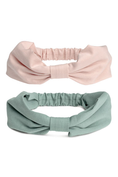2-pack jersey hairbands - Dusky green/Powder pink - Kids | H&M