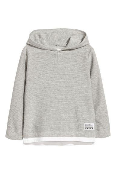 Fine-knit hooded jumper - Light grey - Kids | H&M