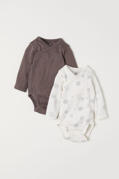 2-pack wrapover bodysuits - Natural white/Hedgehogs - Kids | H&M