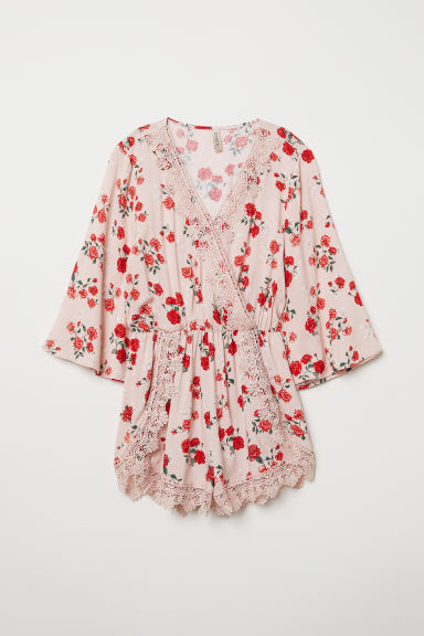 Playsuit with lace - Old rose/Floral -  | H&M CN