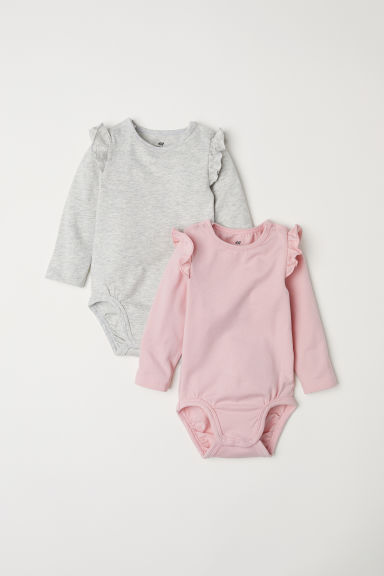 2-pack bodysuits with frills - Light pink/Light grey - Kids | H&M