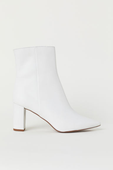 Leather ankle boots - White - Ladies | H&M