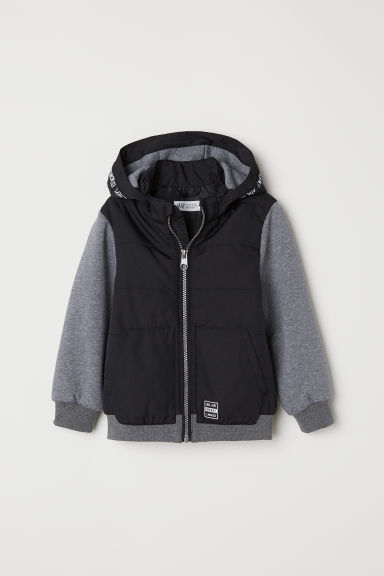 Lightly padded jacket - Black/Block-coloured - Kids | H&M CN