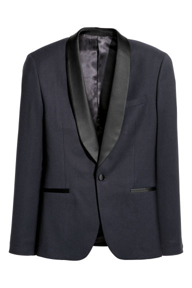 Wool tuxedo jacket Skinny fit - Dark blue - Men | H&M