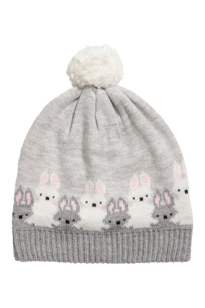 9863315cec5 Jacquard-knit hat - Light grey Rabbits - Kids
