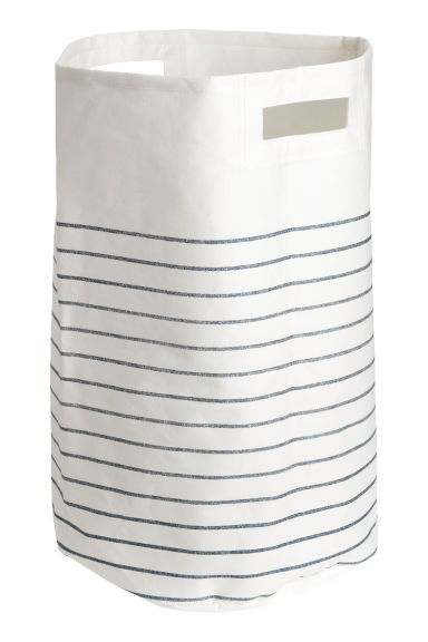 Laundry basket - Natural white/Blue striped - Home All | H&M IE