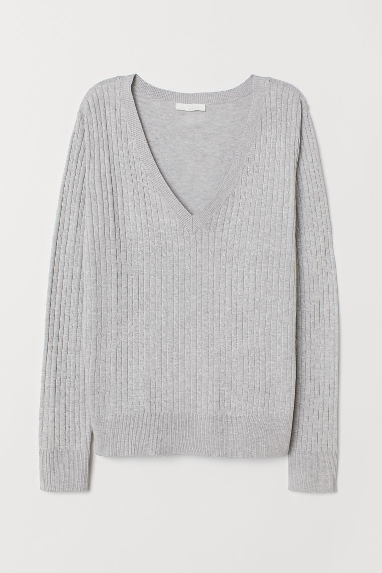 Cable-knit Sweater - Gray melange -  | H&M US