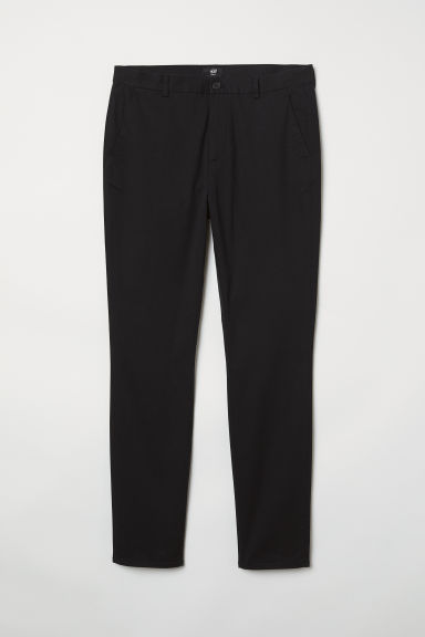 Cotton chinos Slim Fit - Black - Men | H&M