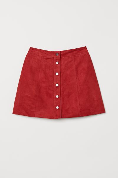 8112b915a A-line Skirt - Dark red/faux suede - | H&M ...