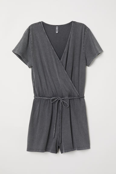 Jersey playsuit - Dark grey washed out - Ladies | H&M CN