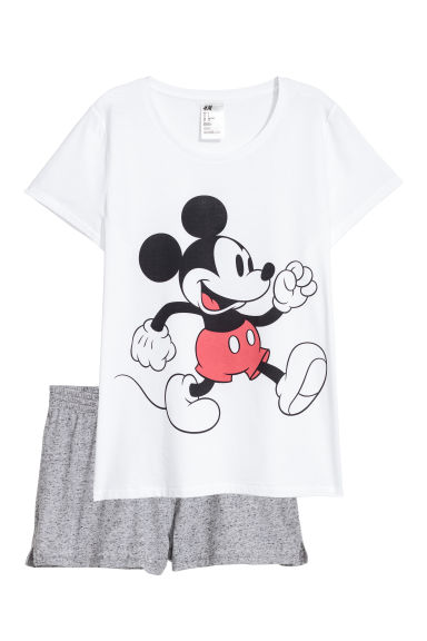 Pyjama top and shorts - White/Mickey Mouse -  | H&M