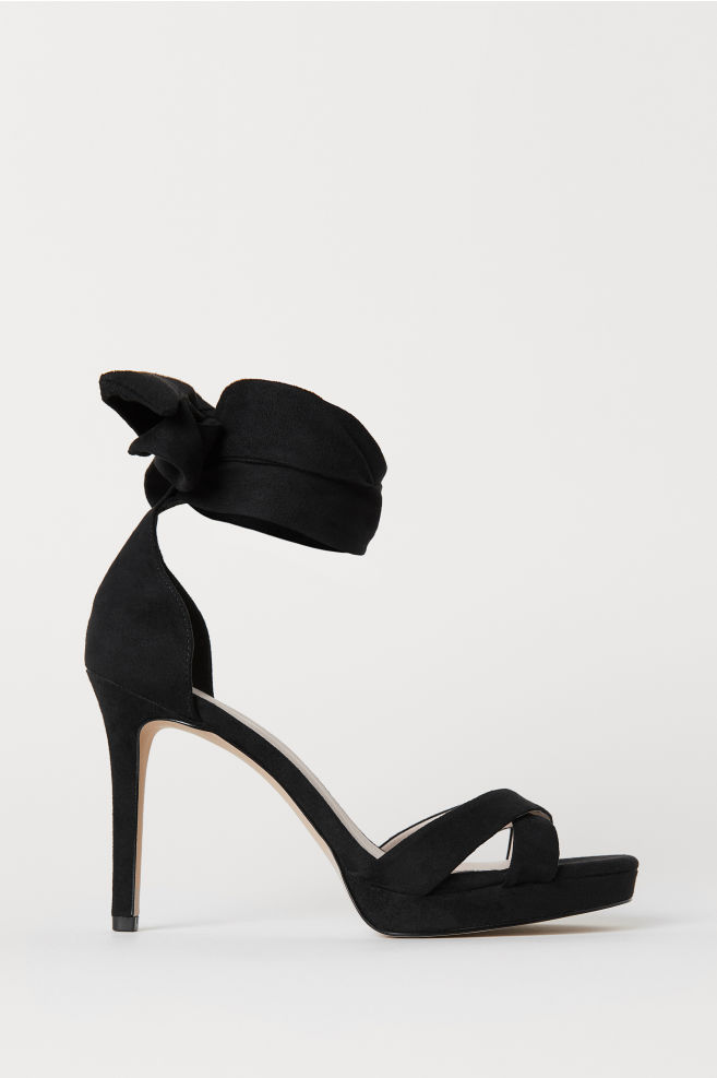 41e34c613fa Black Sandals With Ankle Ties - Image Of Tie
