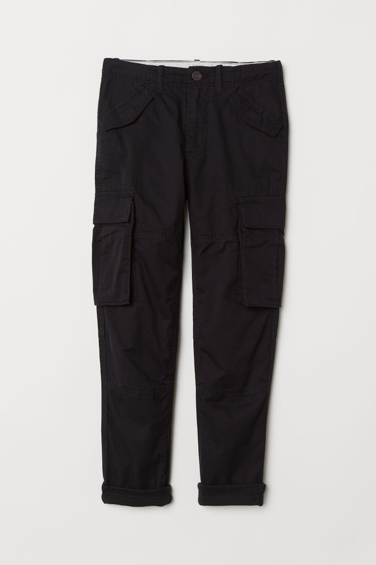 Lined cargo trousers - Black - Kids | H&M CN
