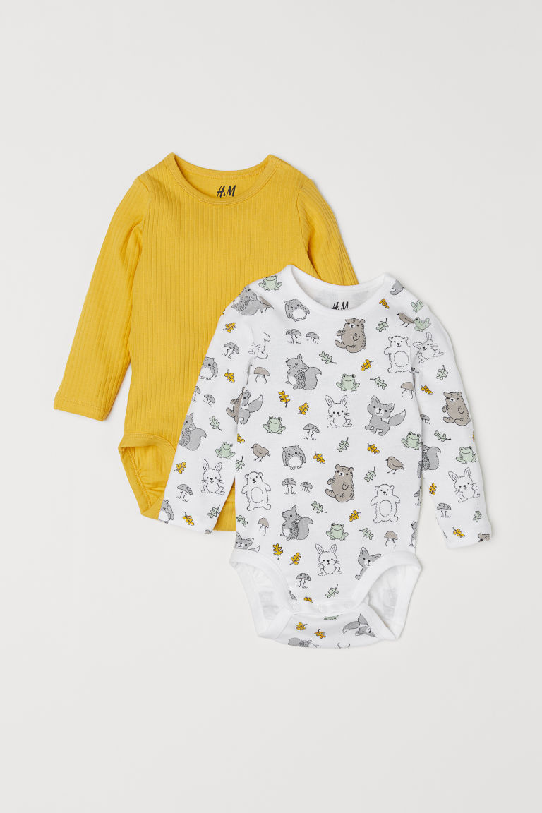 2-pack long-sleeved bodysuits - White/Animals - Kids | H&M CN