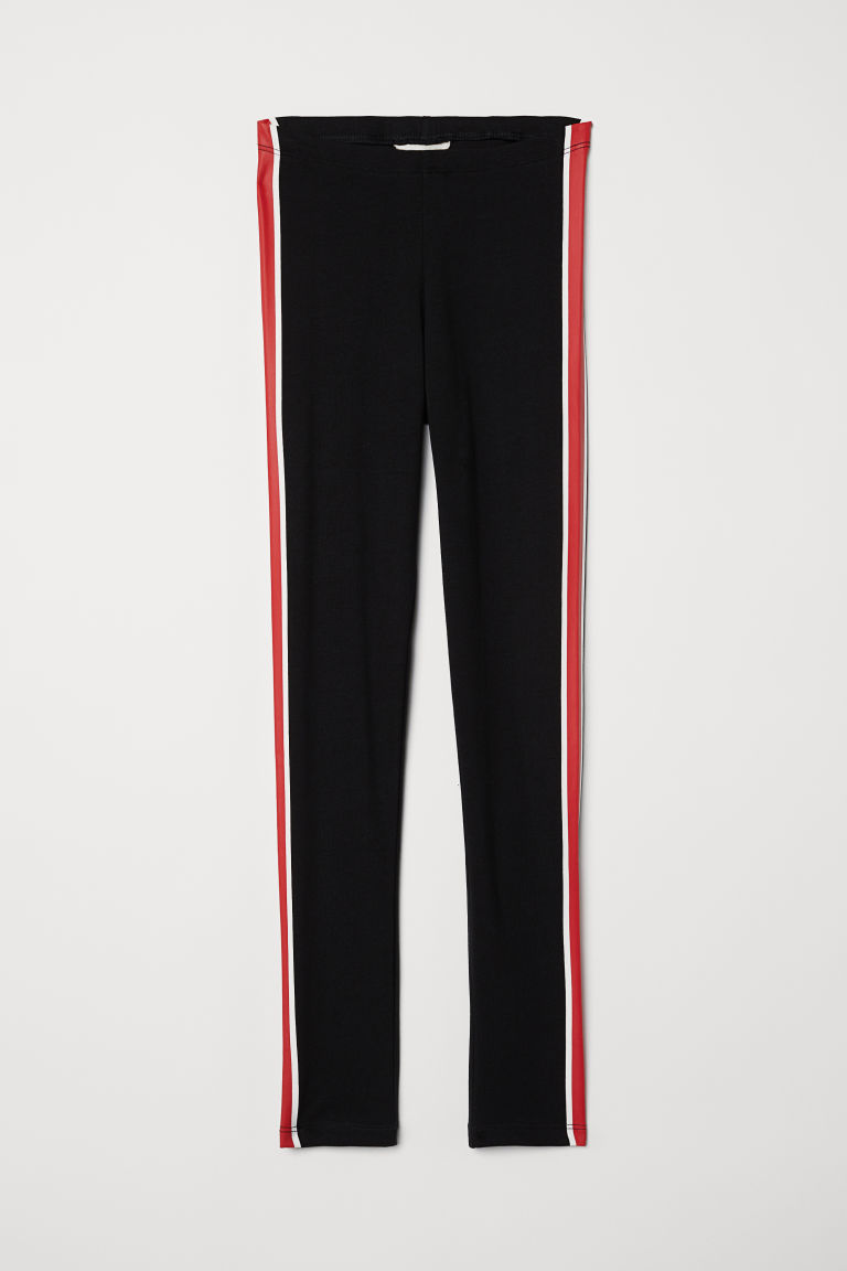 Jersey leggings - Black/Red - Kids | H&M CN
